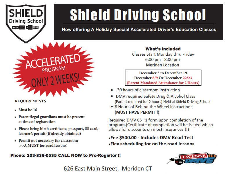 shield driving school ct | your mobility of freedom is my achievement